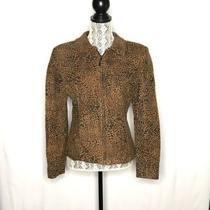 Giancarlo Ferrari animal print patch suede jacket